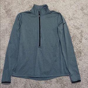 NIKE dri-fit large, gray, half zip up, long sleeve